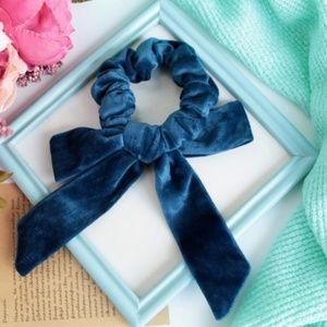 Accessories - HANDMADE Blue velvet scrunchie with bow